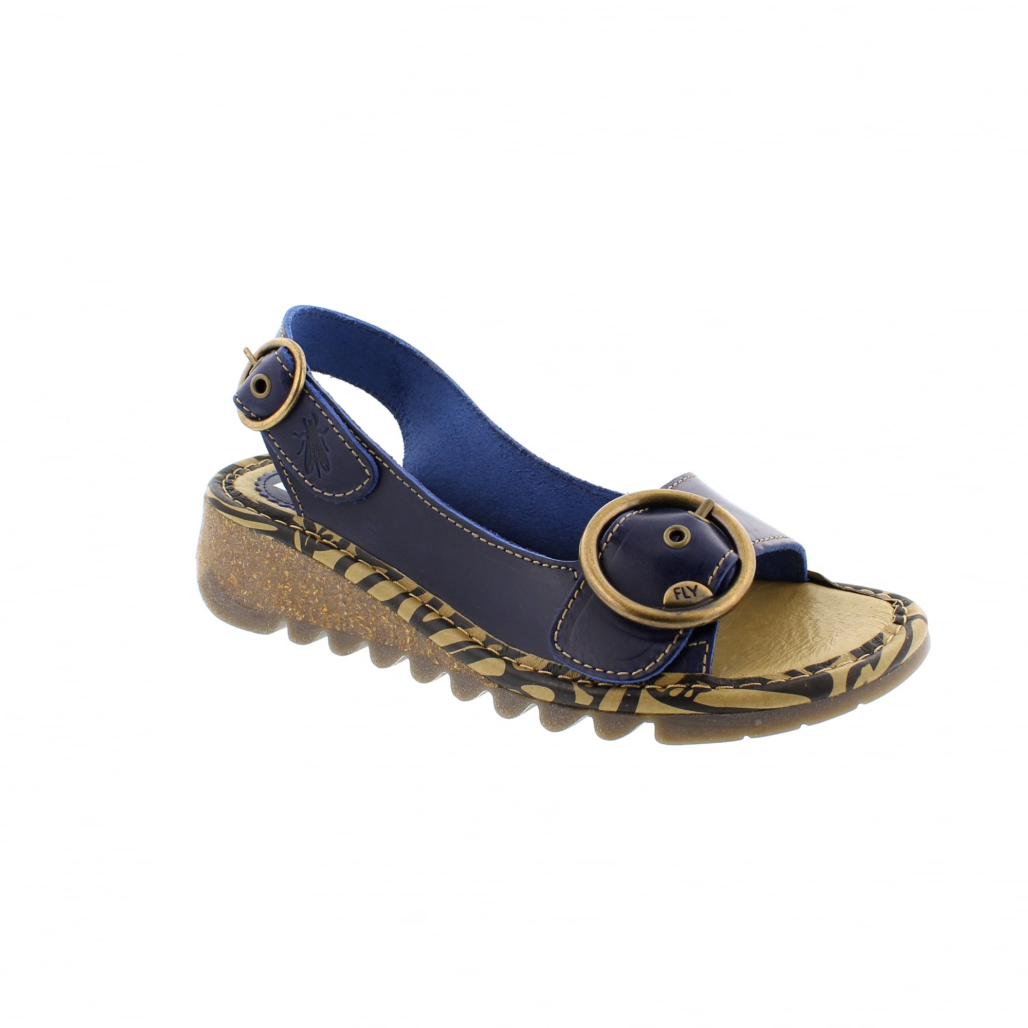 Fly London Tram Wedge Sandals Navy