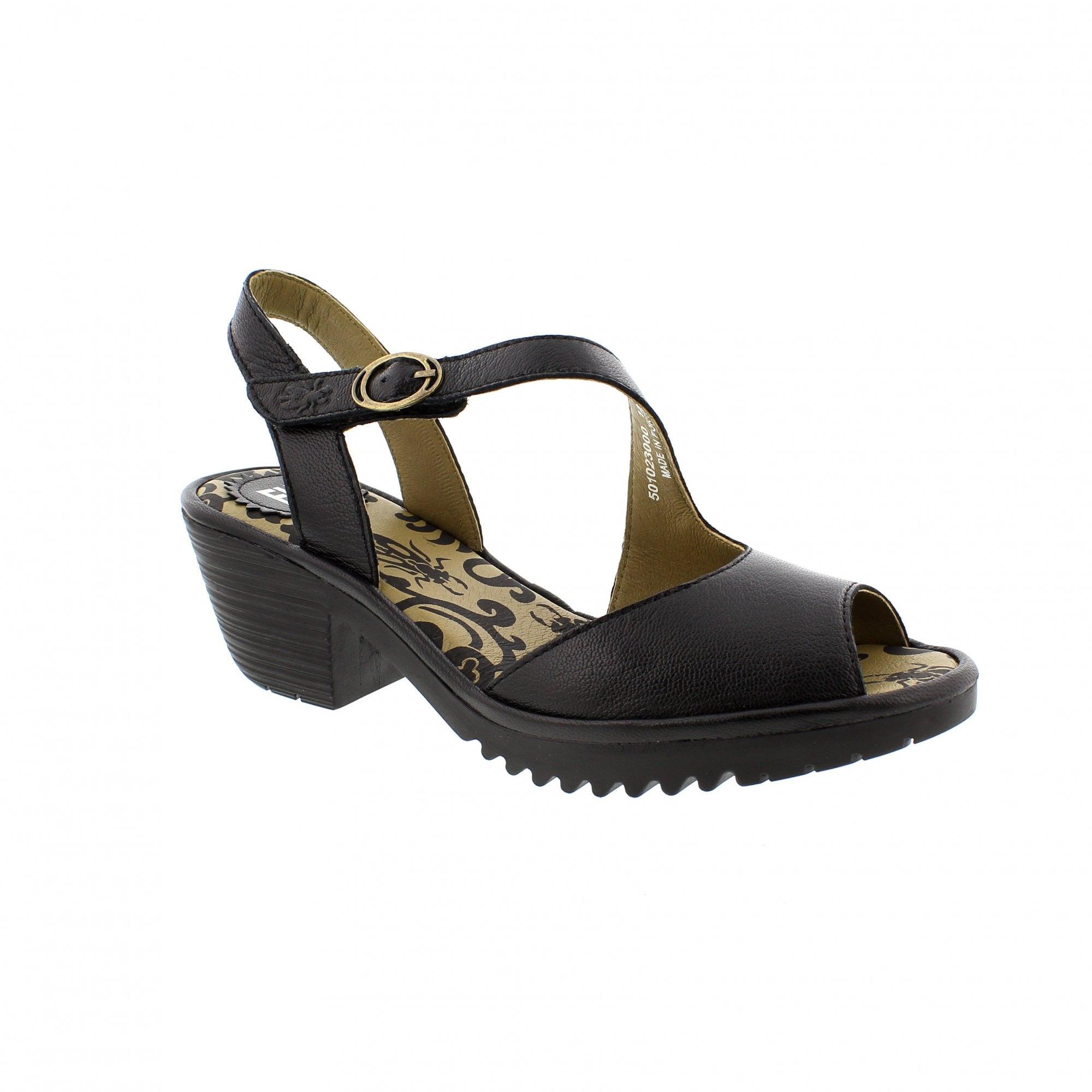 35caffebf8b71 Fly London Wyn Sandals Black Leather 501023-000 | Rogerson Shoes