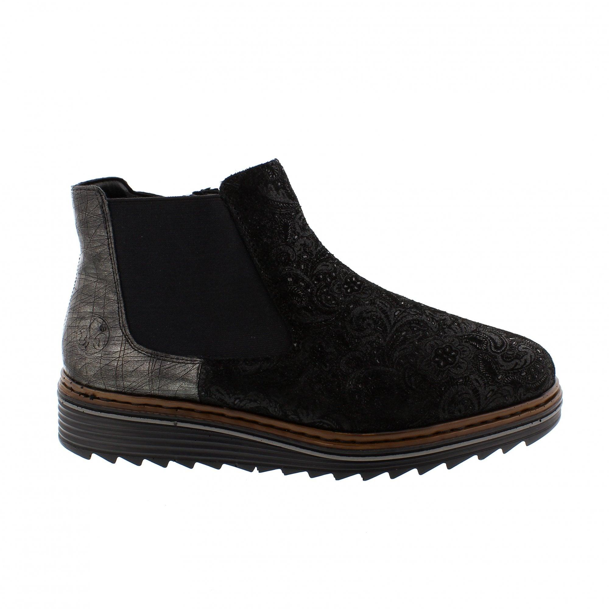 450ff216b6bcf1 Rieker Y6384-02 Black Pewter Womens Chelsea Boots