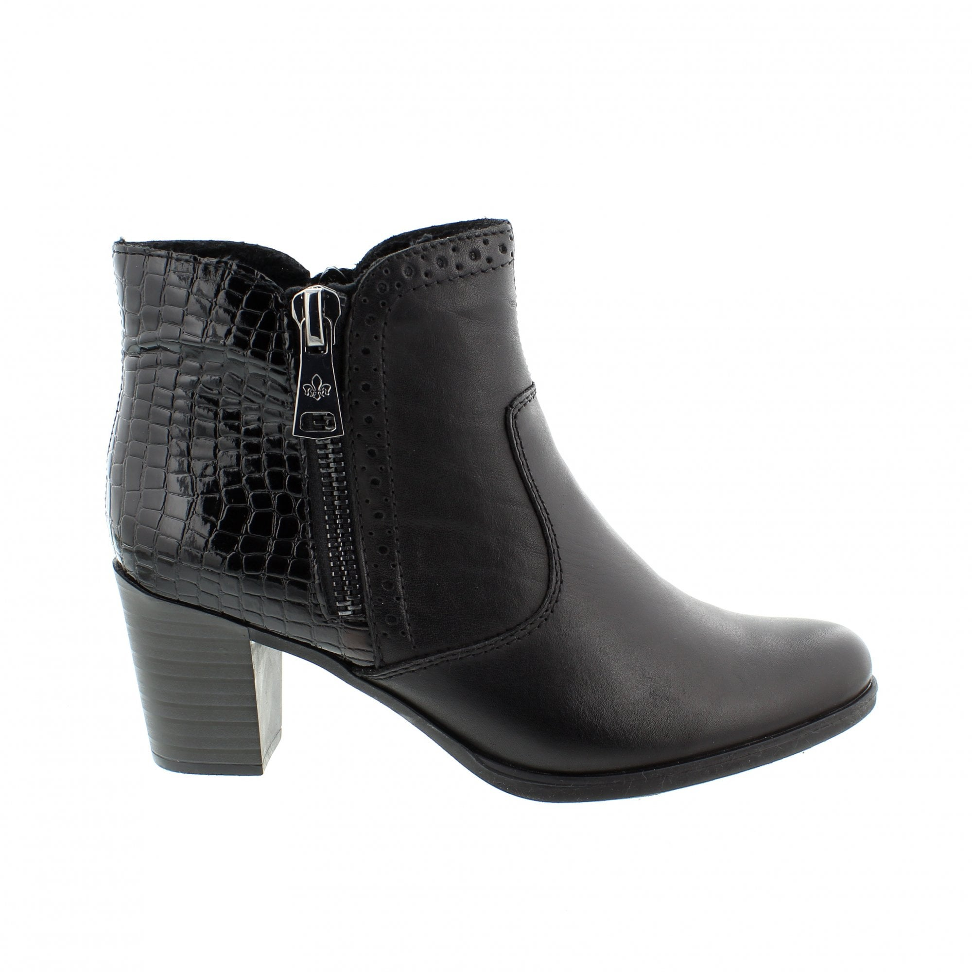562b87209dc4b0 Rieker Y8965-00 Black Leather Womens Ankle Boots