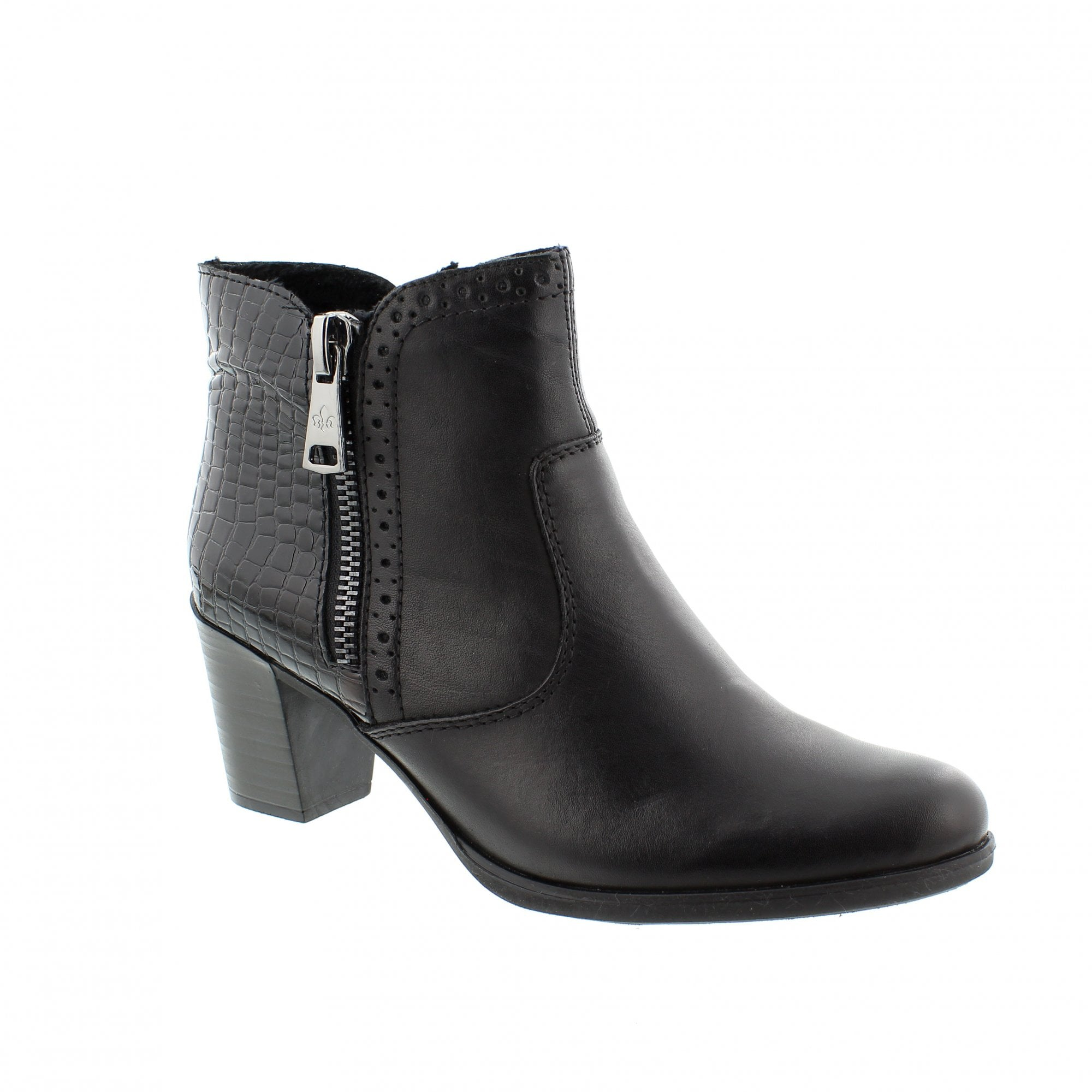 dac5a85c160 Rieker Y8965-00 Black Leather Womens Ankle Boots | Rogerson Shoes