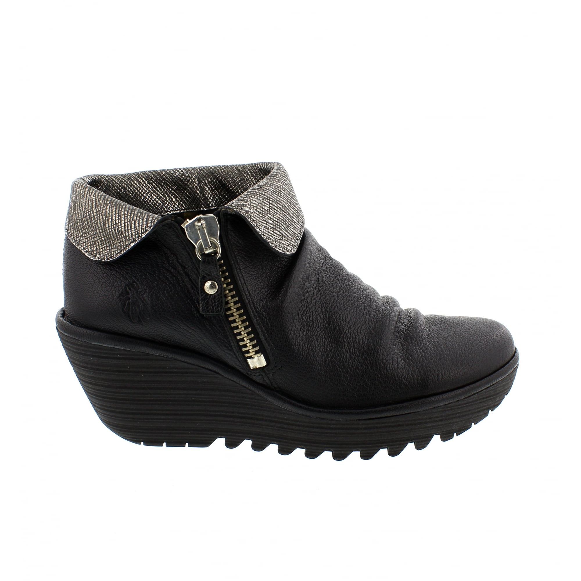 best place discount new list Fly London Yoxi Ankle Boots Black/Pewter   Rogerson Shoes
