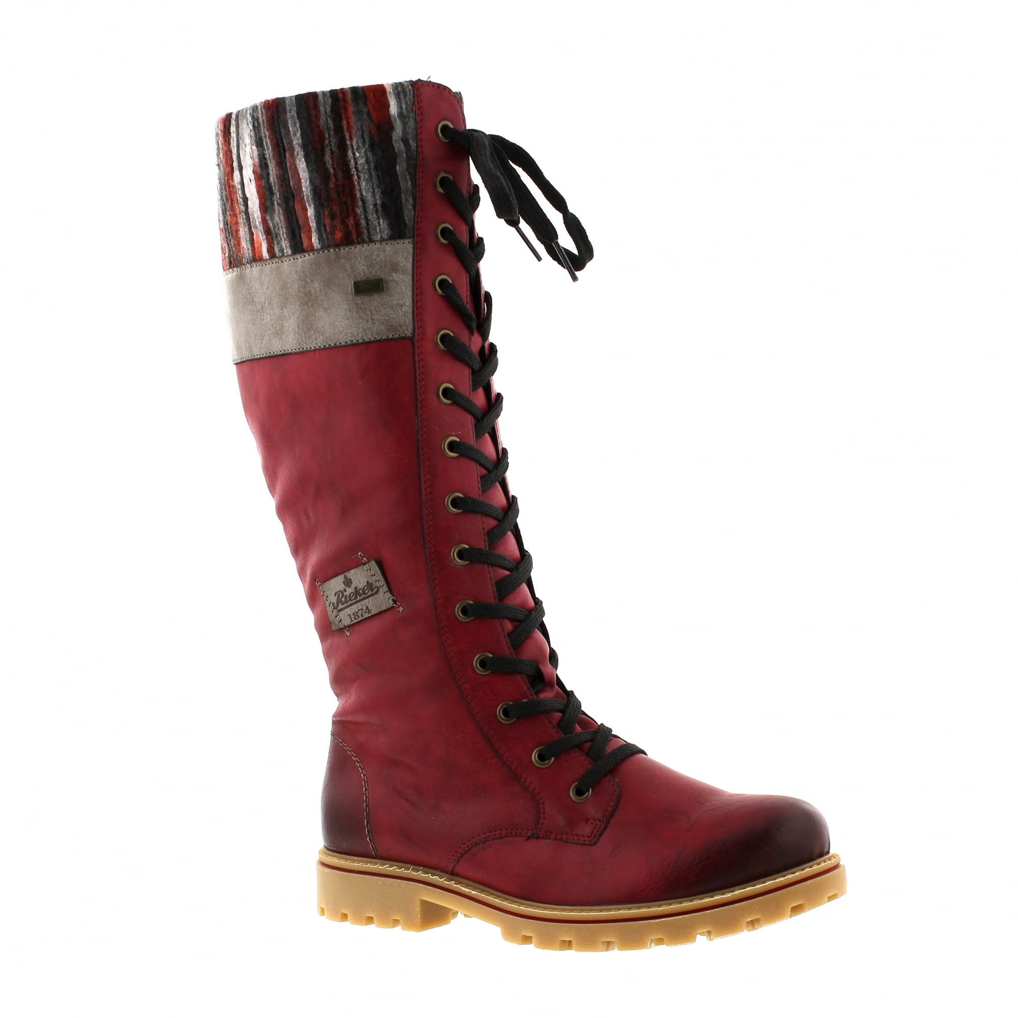 c785819e5 Rieker Z1442-35 Burgundy/Grey Womens Knee High Boots | Rogerson Shoes
