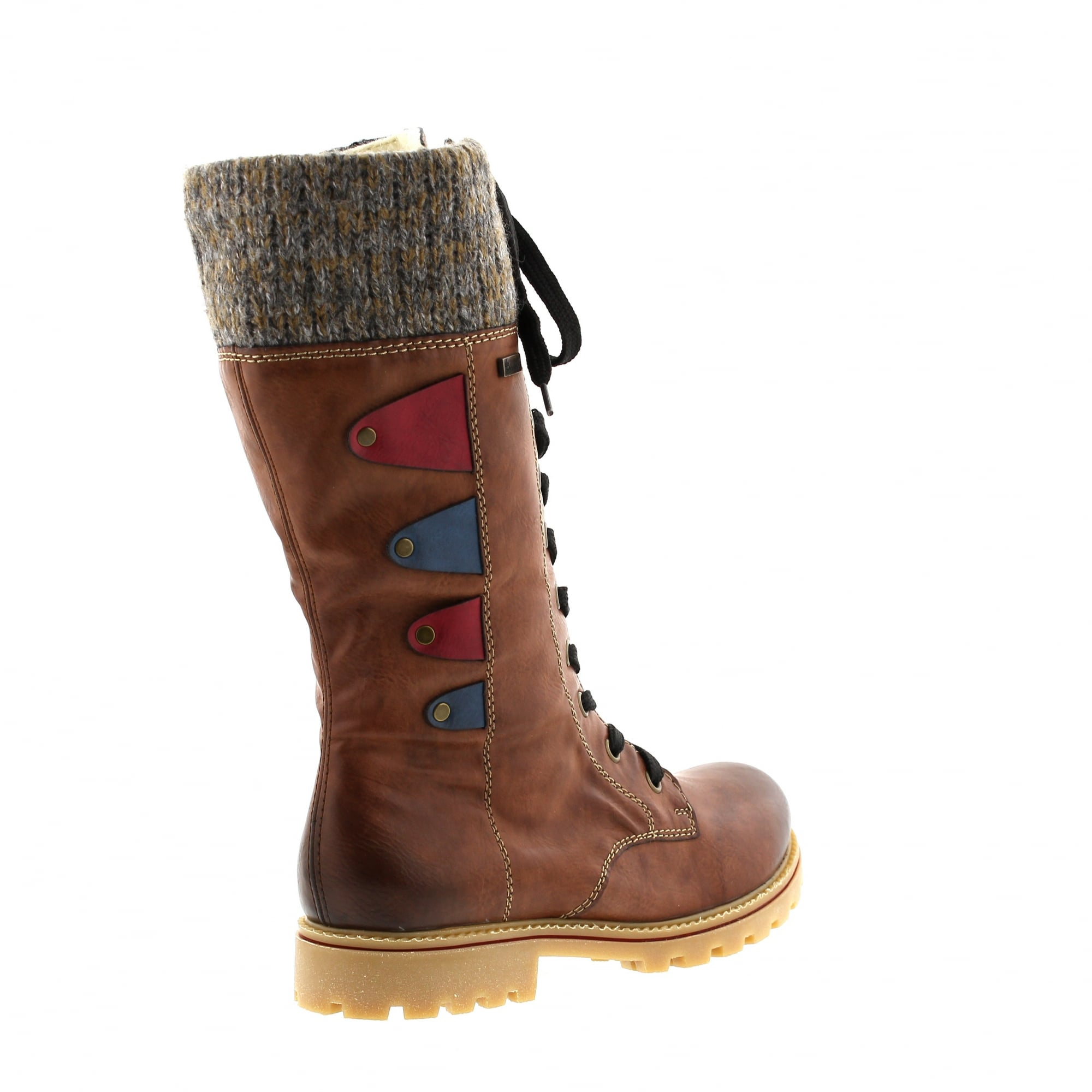 Rieker Z1443-24 Brown/Grey Womens Warm Lined Mid Calf Boots   Rogerson Shoes