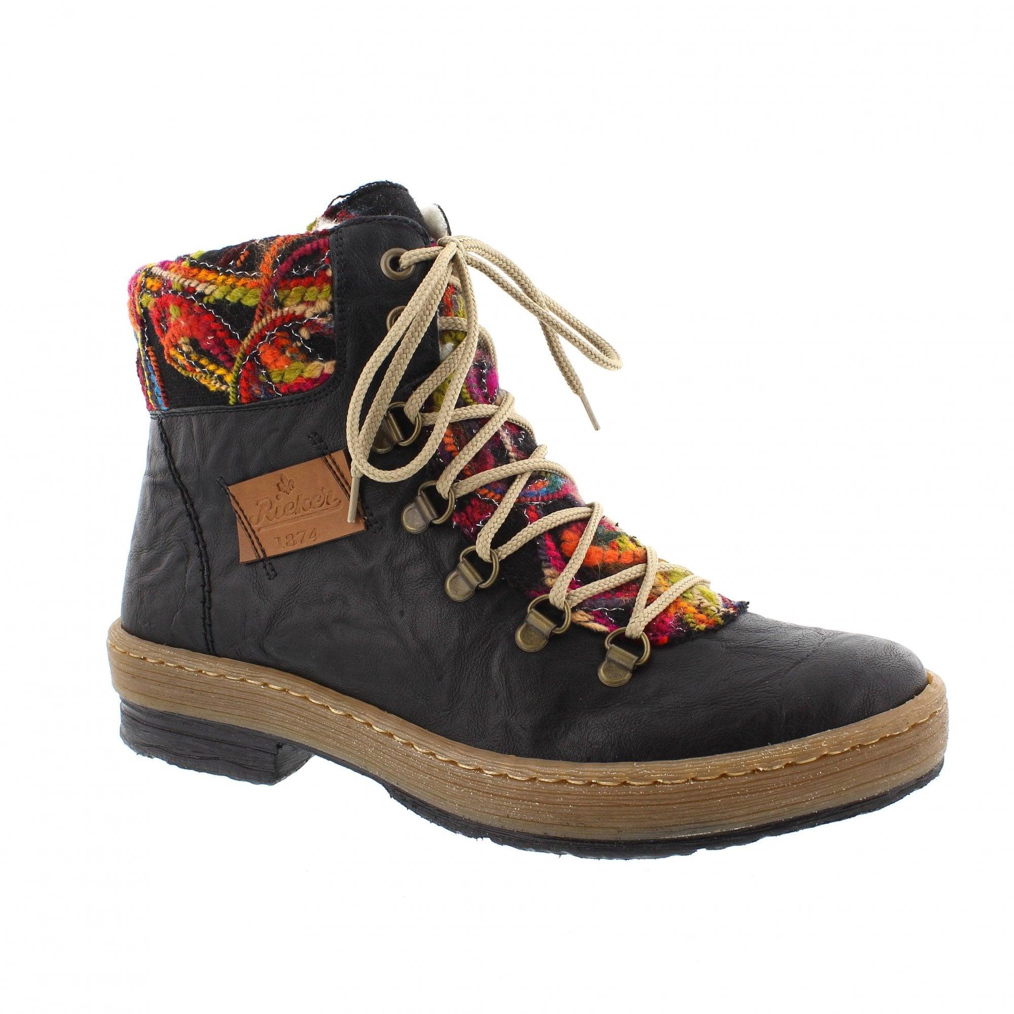 671c0fa773d23d Rieker Z6743-00 Black/Fuchsia Womens Warm Lined Ankle Boots ...