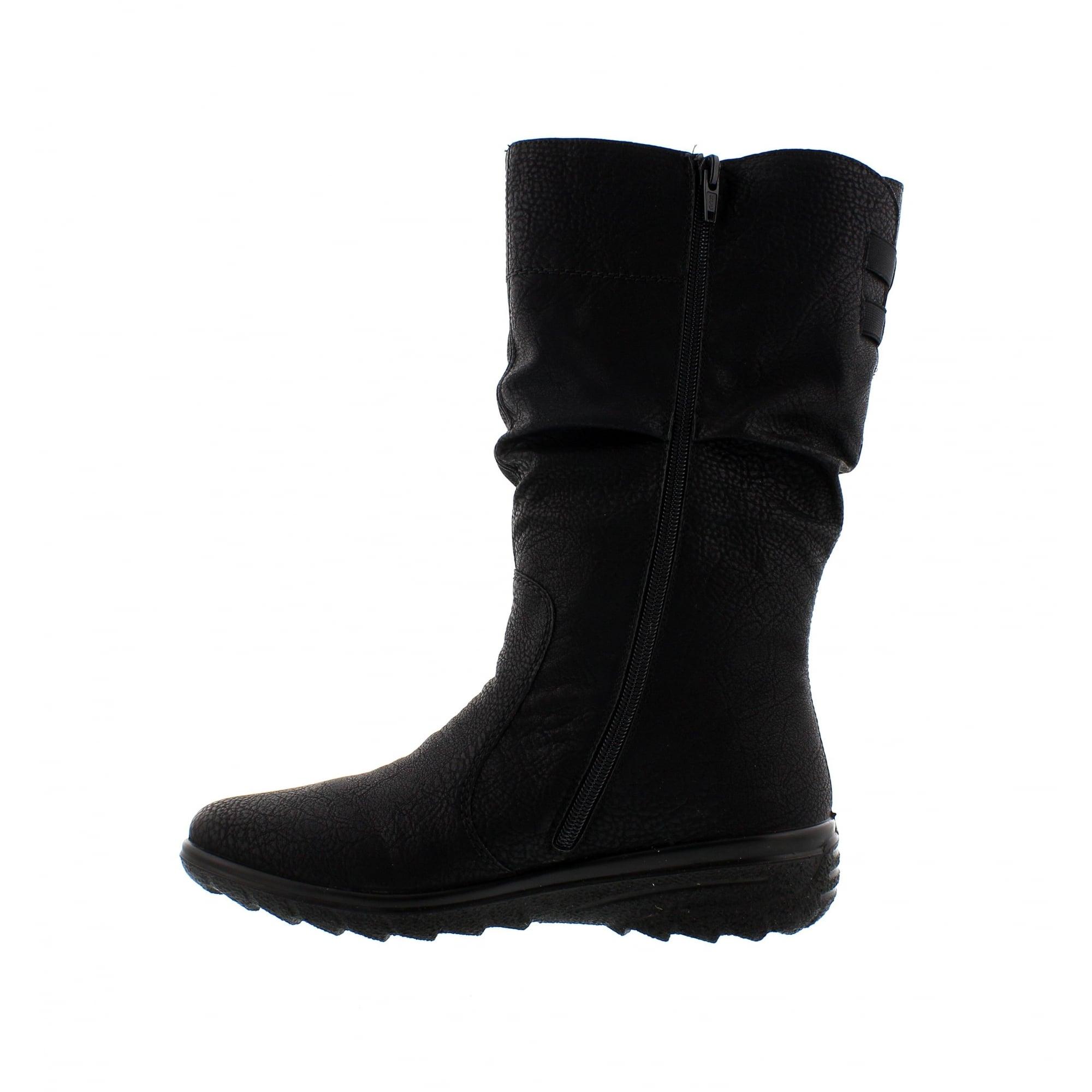 f0bcf547f9c Rieker Z7073-00 Black Womens Mid Calf Boots